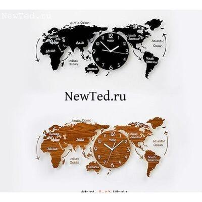 Настенные часы карта мира из оргстекла