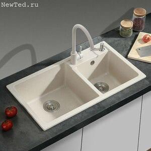 Каменная двойная мойка для кухни № 13-12