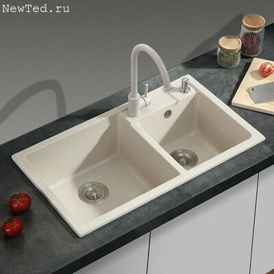 Мойка для кухни двойная из искусственного камня