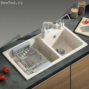 Гранитная двойная мойка для кухни № 13-13