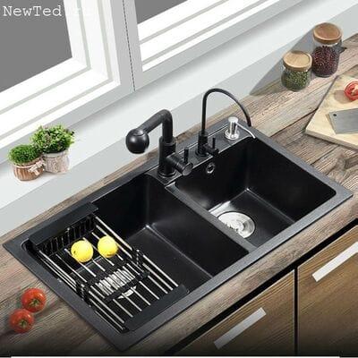 Мойка чёрная для кухни из искусственного камня