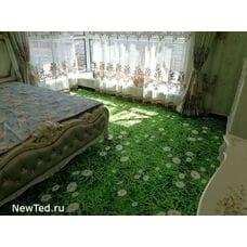 3 D ковер зеленная трава с ромашкой