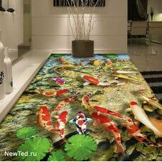 3 D ковер объёмные рыбки