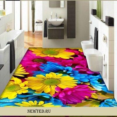 Заказать в магазине 3 D ковер яркий цветок