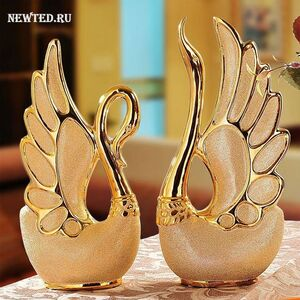 Фигурки два лебедя позолоченные