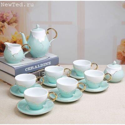 Чайный сервизиз белого нефритового фарфора