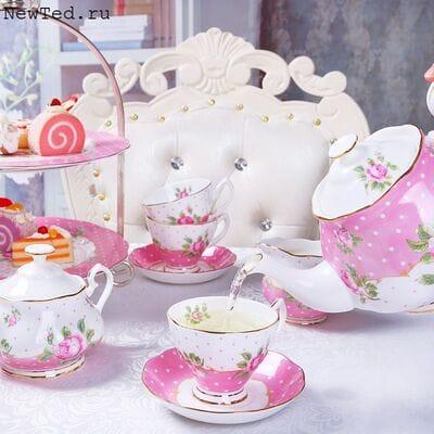 Розовый чайный сервиз костянойфарфор