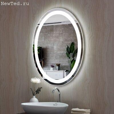 Зеркало овальное с антизапотеванием и подсветкой
