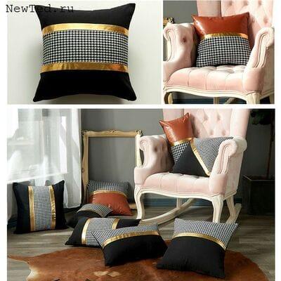Чёрно белые декоративные подушки