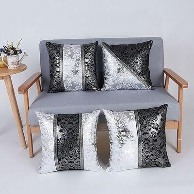 Декоративная подушка черно серебристого цвета