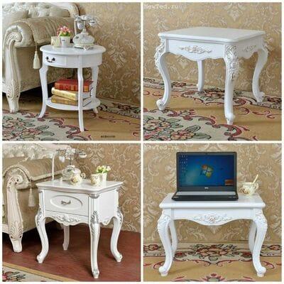 Европейский  столик белого цвета