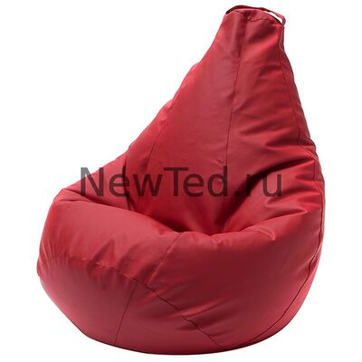 Кресло мешок экокожа красная