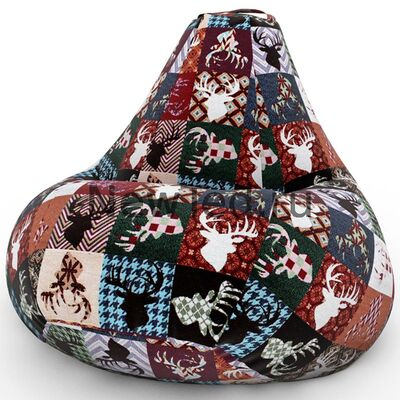 Шикарное кресло мешок Домики Фиолетовые велюр