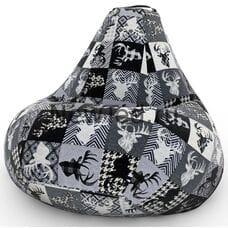 Кресло мешок с Оленями чёрно-белое