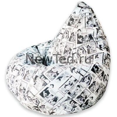Кресло мешок Комикс чёрно белое жаккард