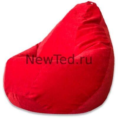 Кресло мешок из микровельвета красного