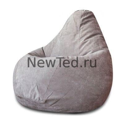 Кресло мешок из микровельвета серого