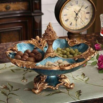 Роскошь ваз в сине золотых тонах для украшения интерьера