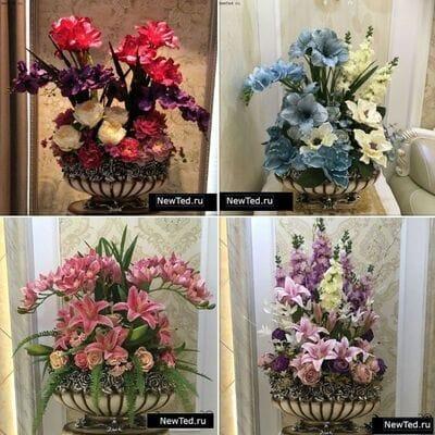 Декоративные вазы с цветами