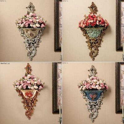 Настенный декор вазы с цветами