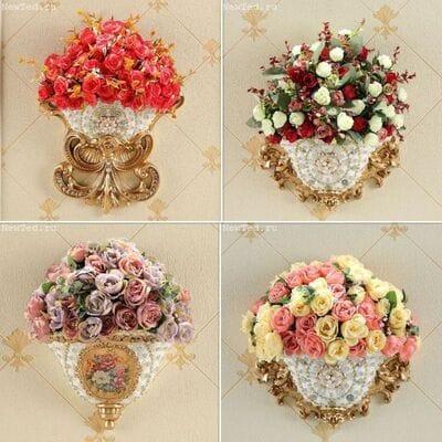 Декоративные настенные вазы с цветами