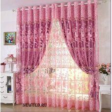 Розовые шторы с тюлью