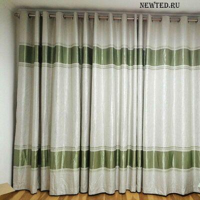 Купить шторы светлые с зеленой полоской.