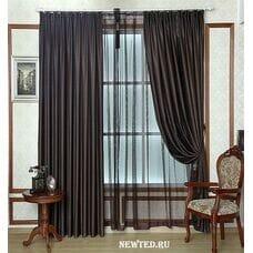 Комплект коричневых штор с тюлью