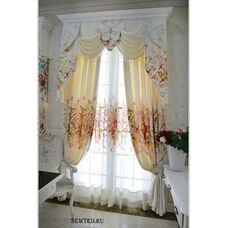 Белые шторы с цветочками
