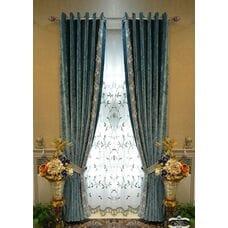 Синие шторы шенилл