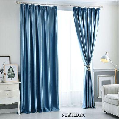 Купить в зал голубые шторы  блэкаут