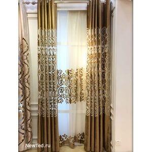 Шикарные коричневые шторы с тюлью