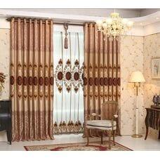 Роскошные коричневые шторы с тюлью
