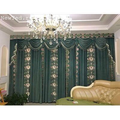 Плотные шторы  из замша с вышивкой