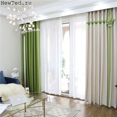 Комплект штор бежевые и зеленые