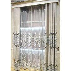 Серые вышитые шторы