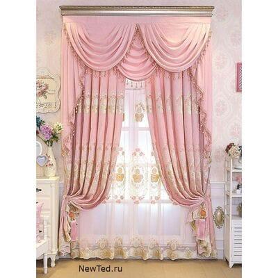 Купить на окна шторы розовые
