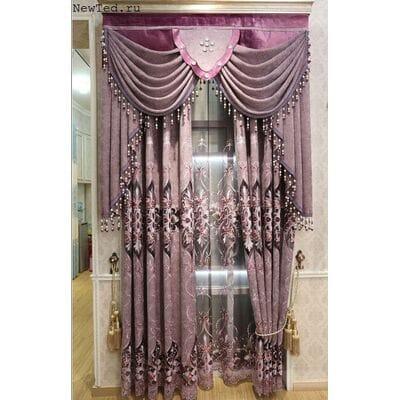 Фиолетовые шторы на люверсах