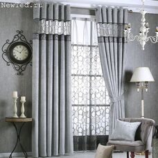 Серый комплект штор