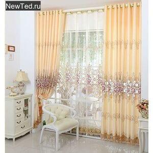 Бледно желтый комплект штор