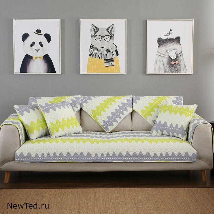 Купить комплект накидок на диван зелено серые