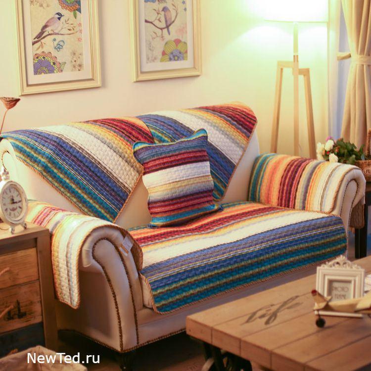 Купить комплект накидок на диван и кресло радуга