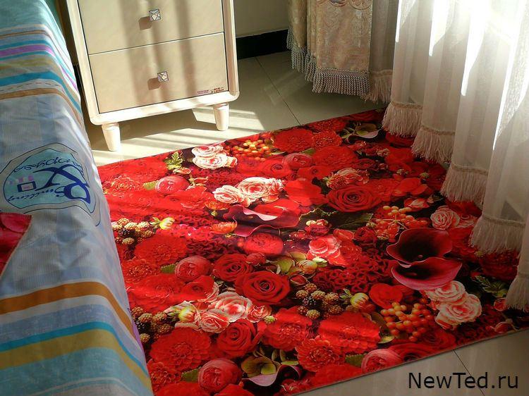 Купить ковер в комнату красные розы