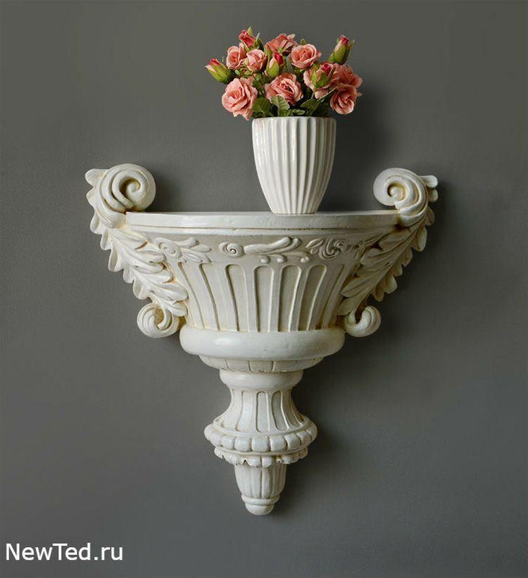 Купить настенную полку для цветов