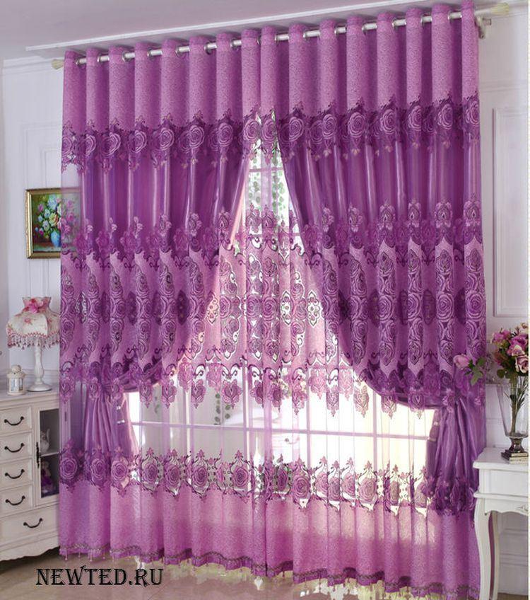 готовые шторы фиолетовые