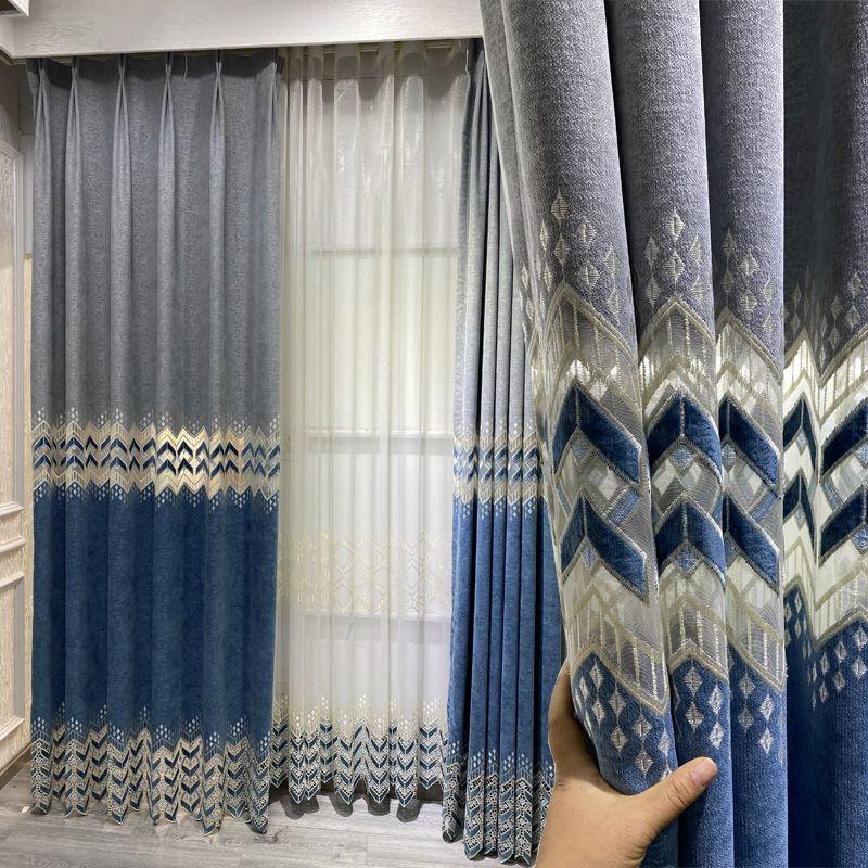 Покупка штор для зала голубые