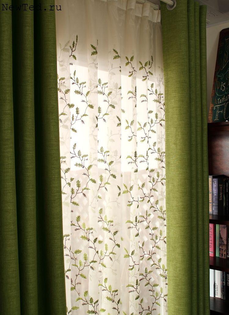 Шторы зеленые тюль вышивка