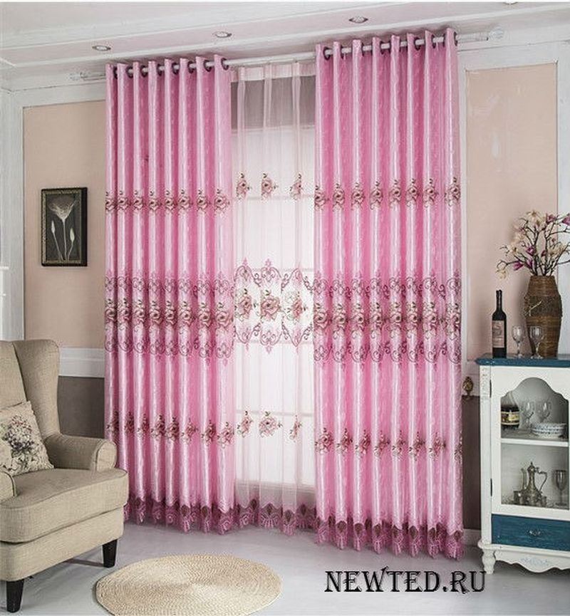 розовая красивая штора купи