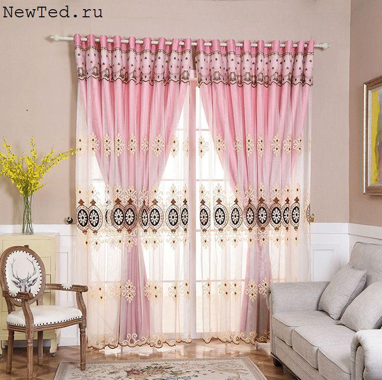 Дизайн штор для спальни спереди тюль сзади штора